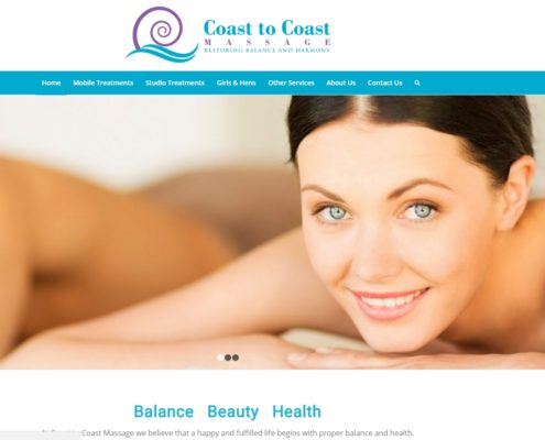 Website design - Coast to Coast Massage