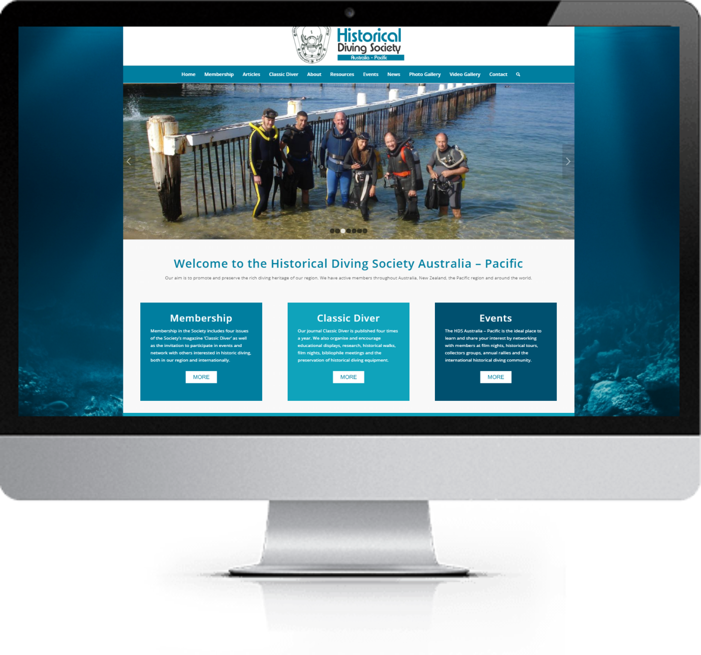 Website Redesign - Historical Diving Society - After