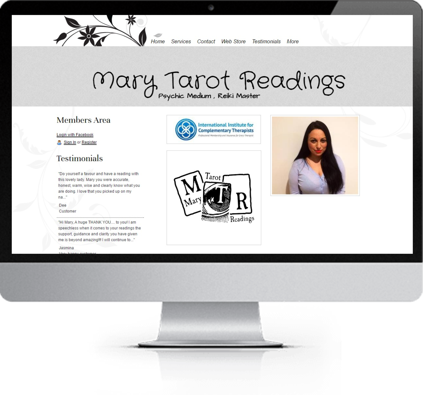 Website Redesign - Mary Tarot Readings - Before